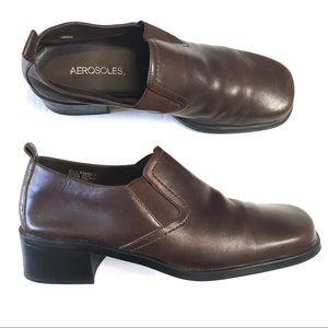 Aerosoles Heel  8.5 Brown Leather Ankle Bootie